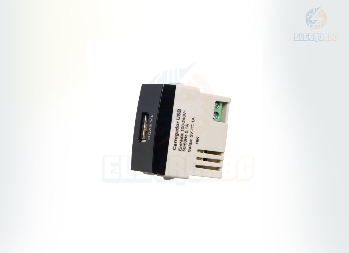 MODULO TOMADA CARREGADOR USB 1A-BIVOLT EBONY SLEEK