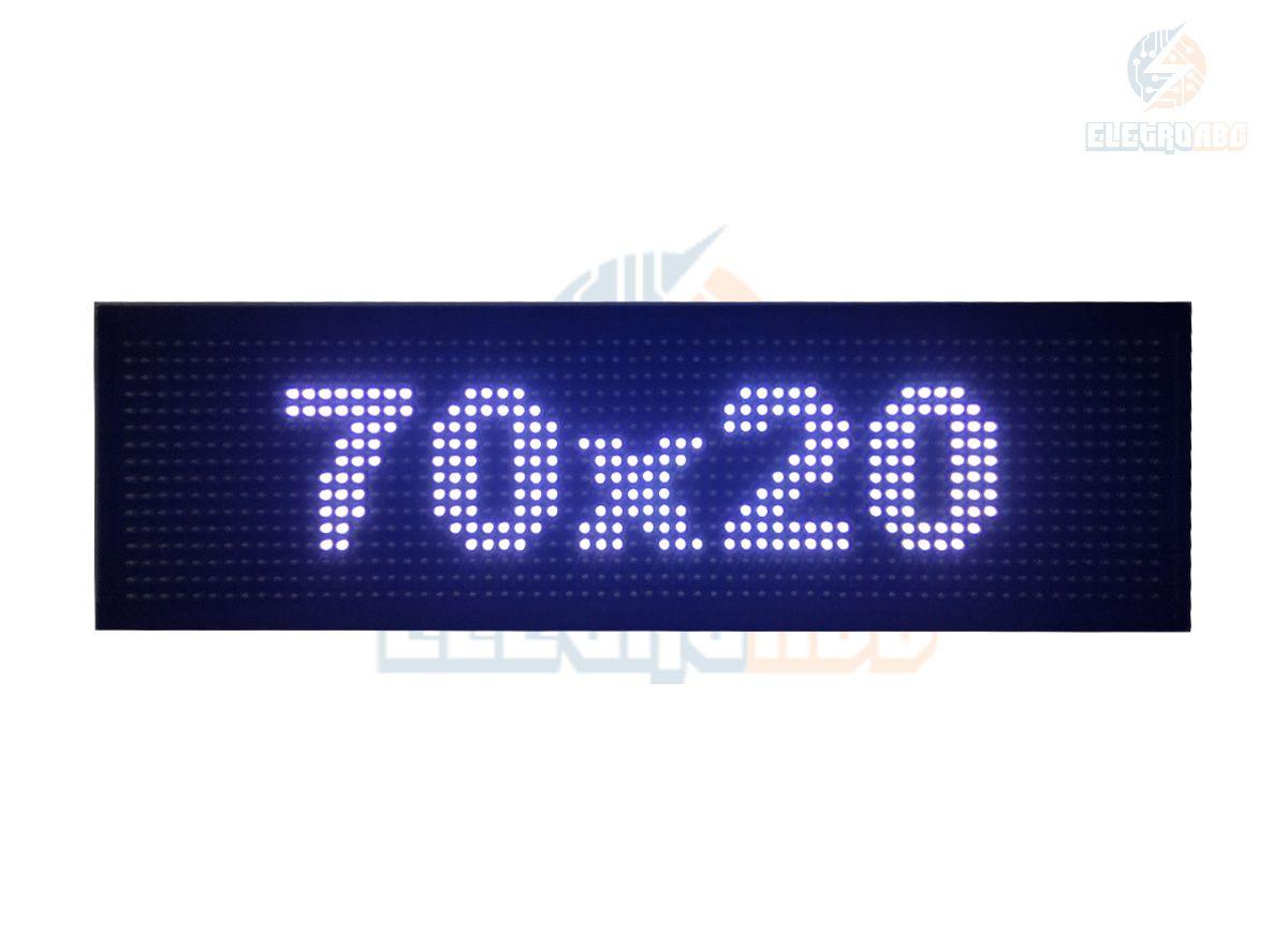 Painel de LED, Letreiro Digital USB 70x20cm Branco