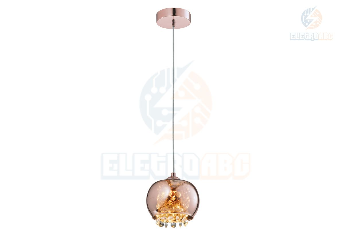 Pendente cúpula vidro/cristal cobre - 1G9
