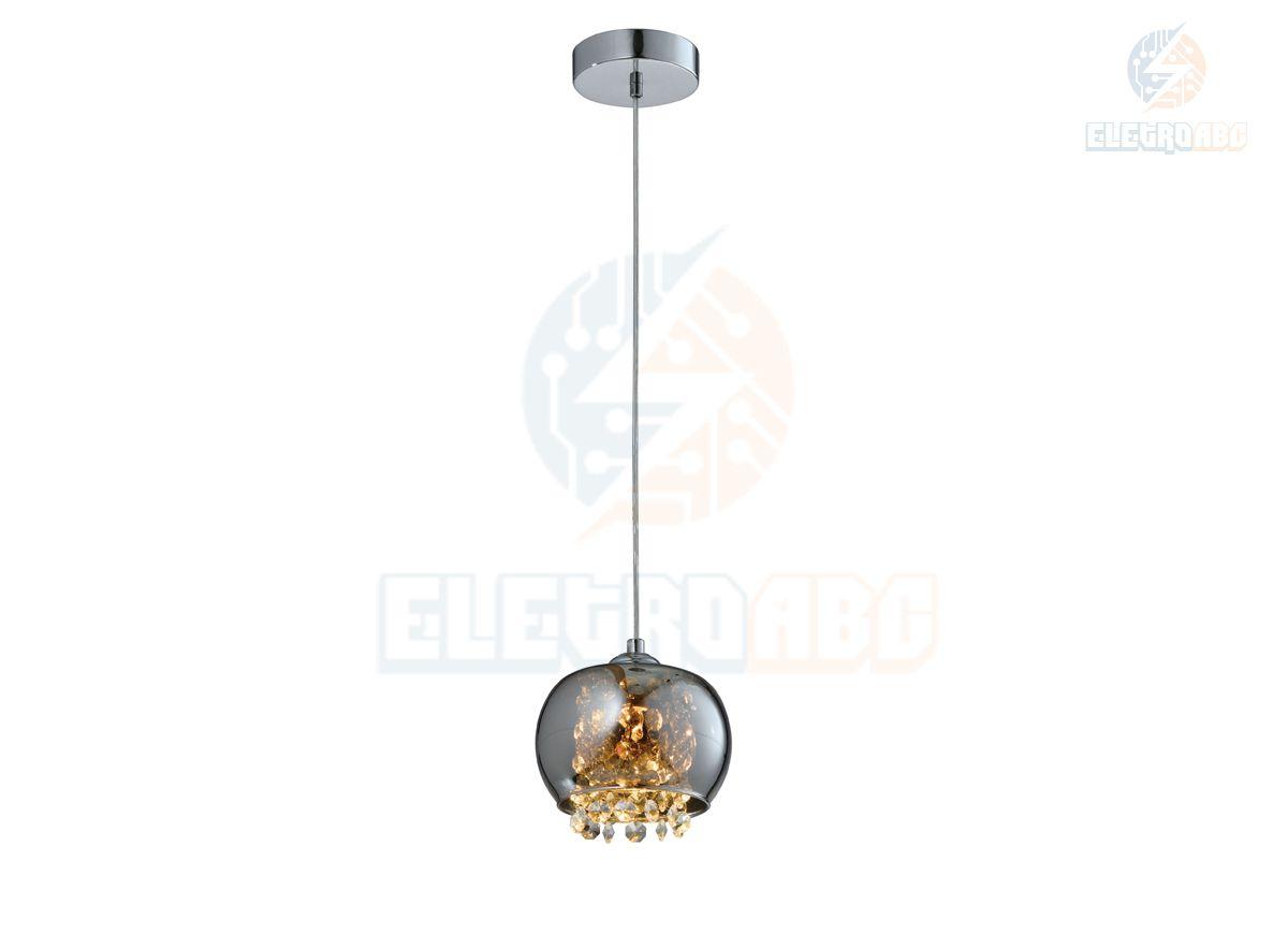 Pendente cúpula vidro/cristal cromo - 1G9