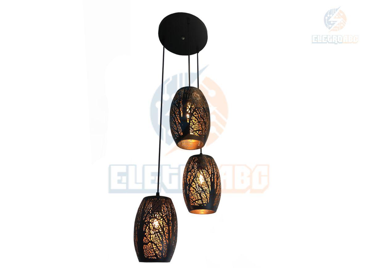 Pendente triplo Metal Vazado F10129-3