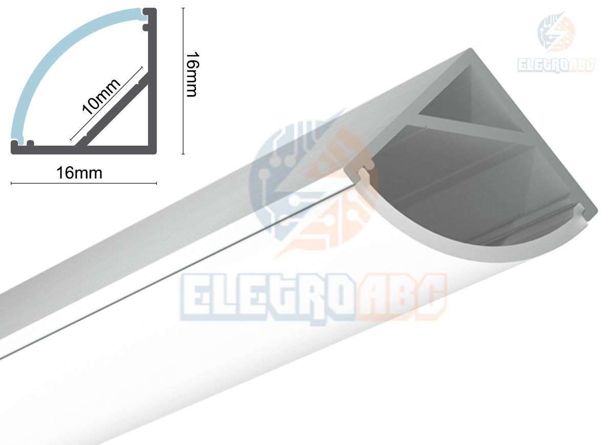 Perfil Alumínio p/Fita LED Canto Leitoso 2 Metros