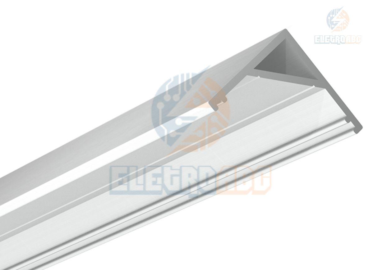 Perfil Aluminio p/Fita LED Canto transparente