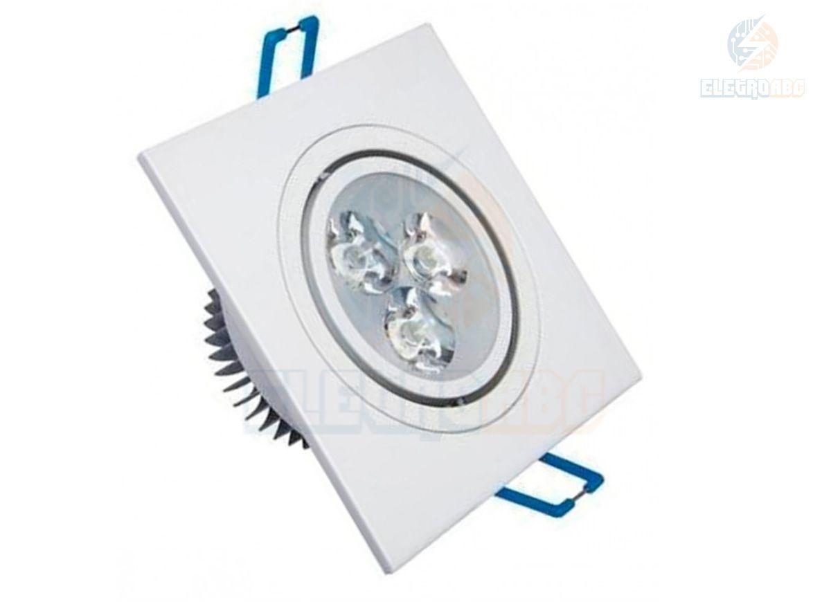 Spot LED branco 3 watts BQ quadrado