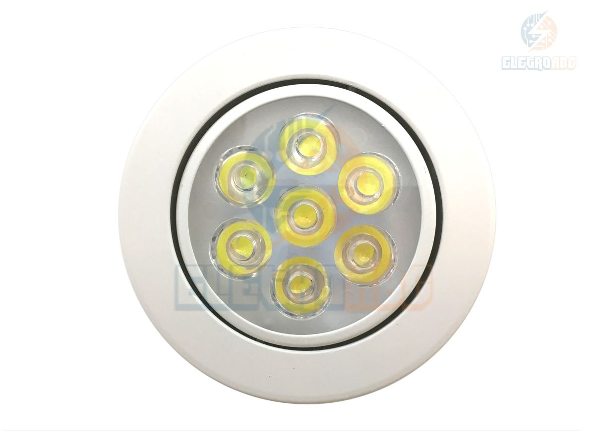 Spot LED branco 7 watts BQ redondo