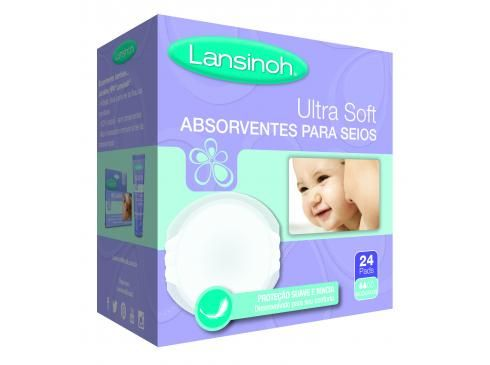 Absorventes de seios descartáveis UltraSoft Lansinoh – 24 unidades