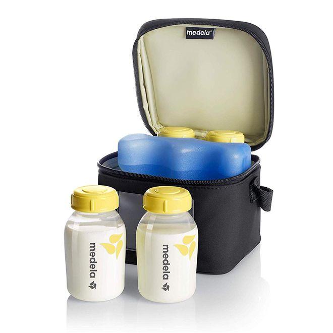 Bolsa CityStyle + frasqueira térmica com gelo reutilizável e 4 frascos de 150 ml – Medela