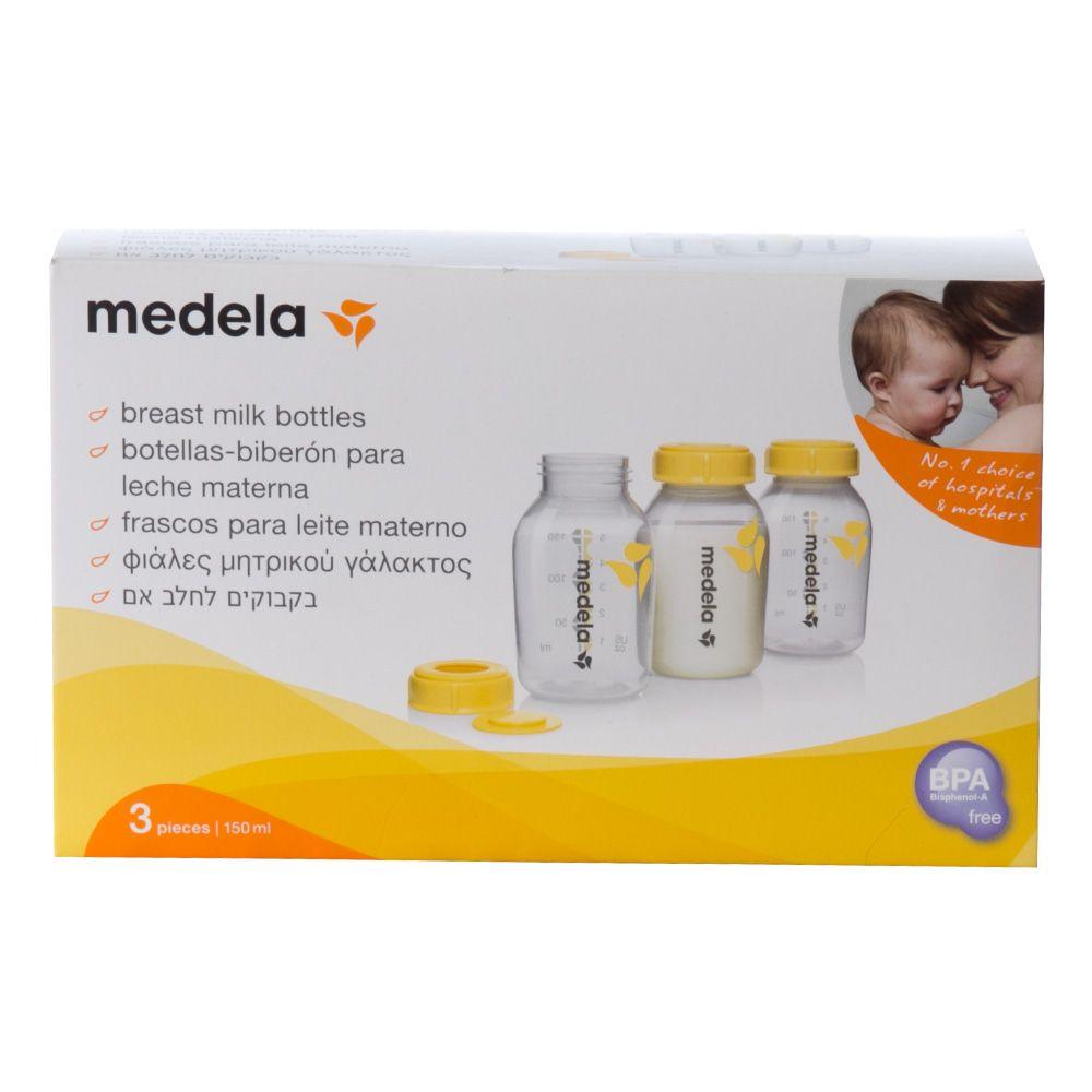 Frascos para coleta e armazenamento de leite materno Medela – 3 unidades de 150ml