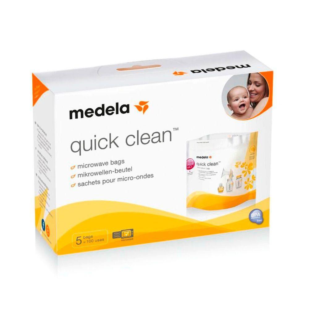 Kit Amamentação Medela Harmony – Bomba extratora de leite materno manual + 3 Frascos para coleta e armazenamento de leite materno de 150ml + Bolsa para esterilização em microondas Quick Clean