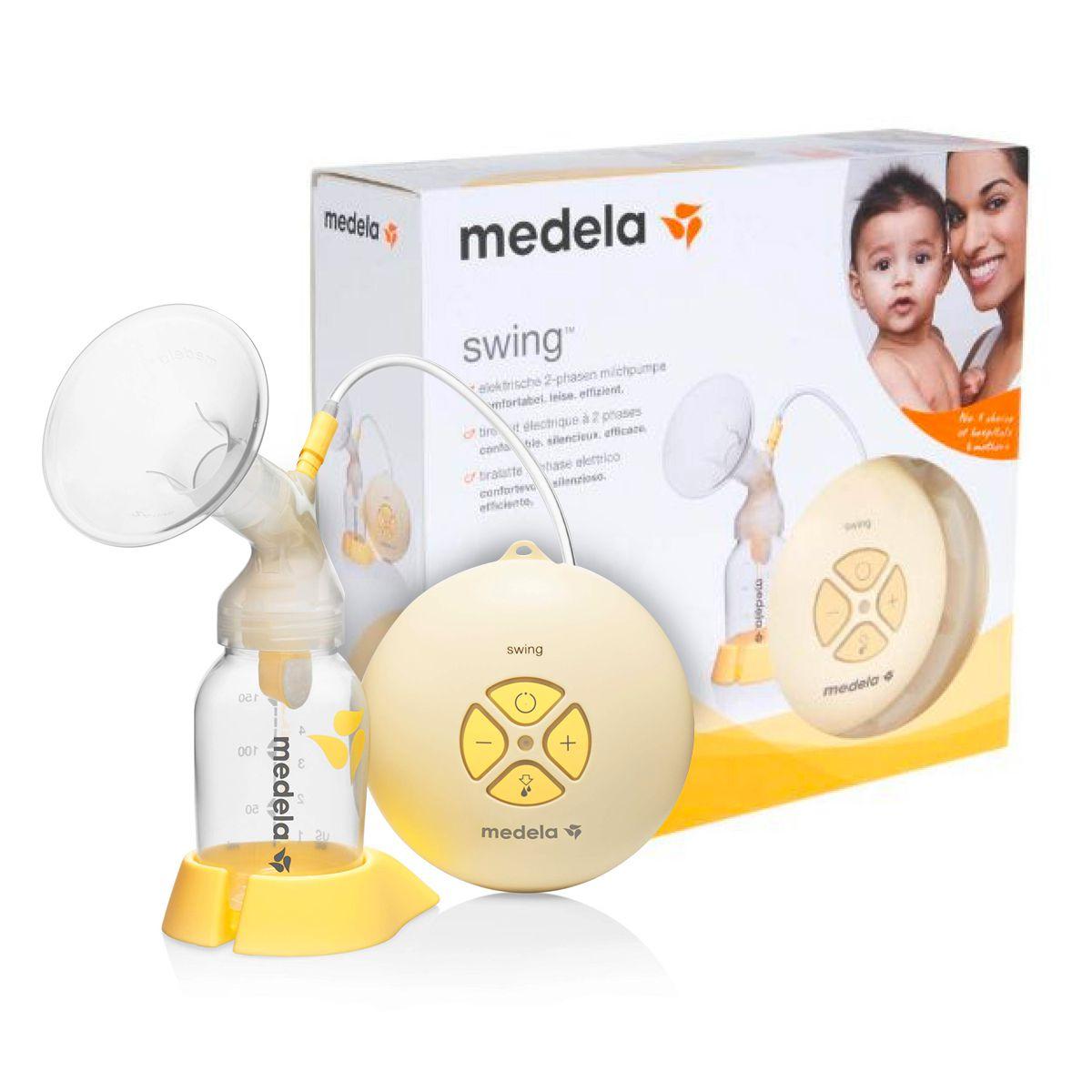 Kit Amamentação Medela Swing – Bomba extratora de leite materno elétrica + 3 Frascos para coleta e armazenamento de leite materno de 150ml + Bolsa para esterilização em microondas Quick Clean
