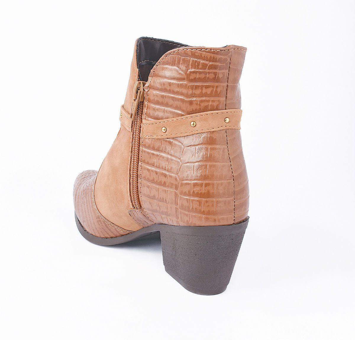 Bota Feminina Cano Curto Ankle Boot Caramelo Croco