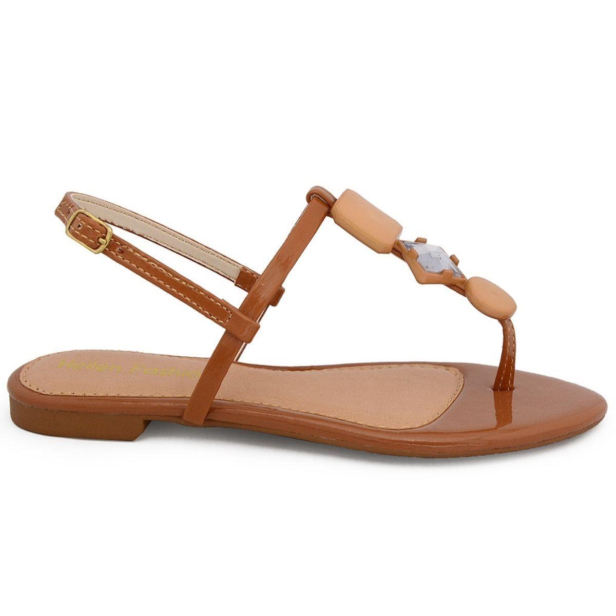 Sandália Rasteirinha Feminina Flat ABS Caramelo