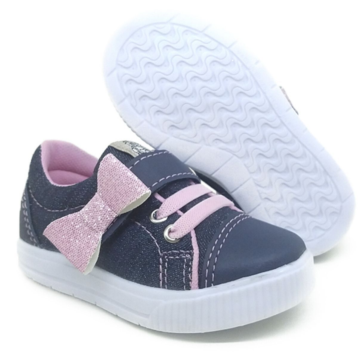 Tênis Infantil Feminino Laço Jeans Pockey Kids