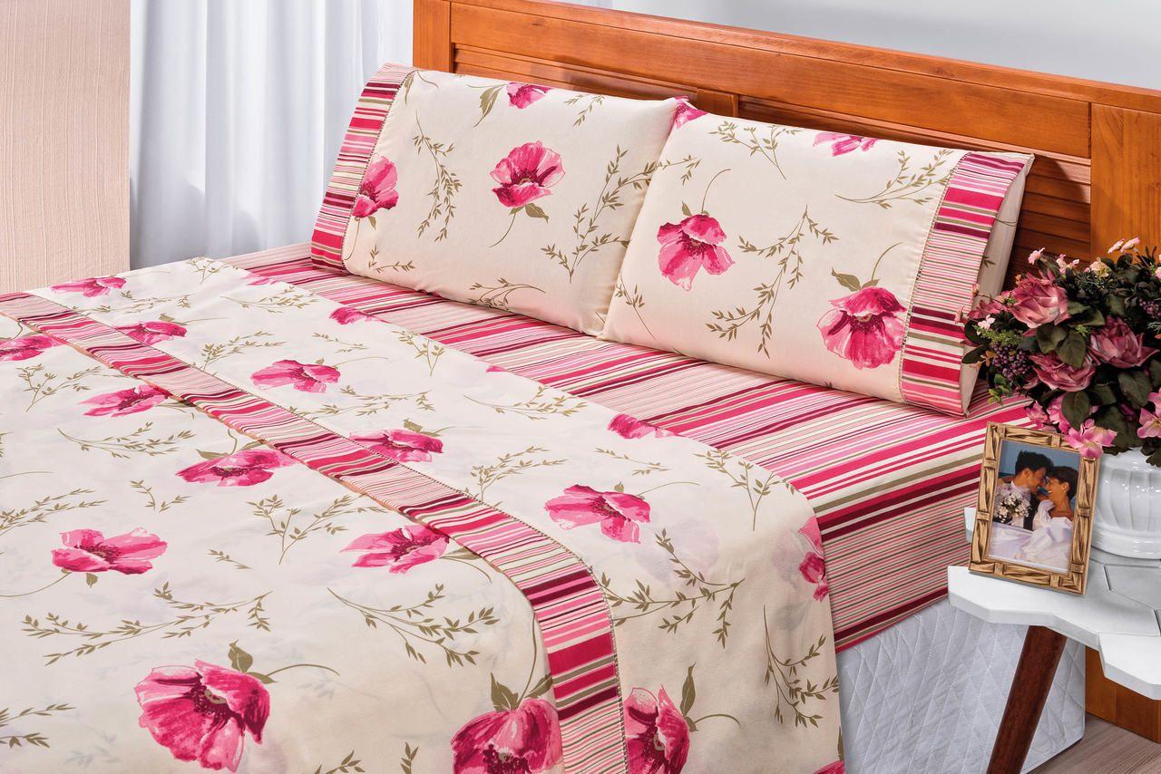 9548706892 Jg De Lençol Solteiro Rosa e Palha Floral Tecido Algodão Percal 180 Fios 03  peças