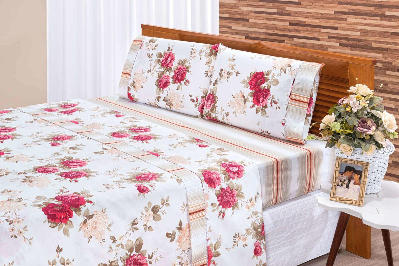 0dd1ebd1dd Jg De Lençol Casal king Branco Floral Tecido Algodão Percal 180 Fios 04  peças