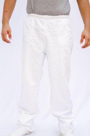 Calça de Brim Branco Cós Inteiro Elástico