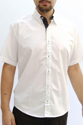 Camisa M. Curta Branca com Marinho