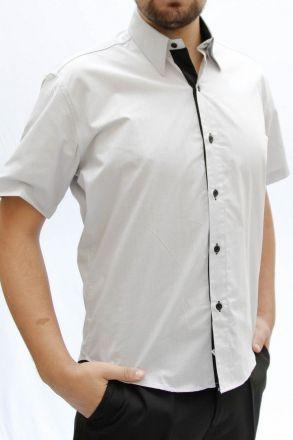Camisa M. Curta Listrada Cinza