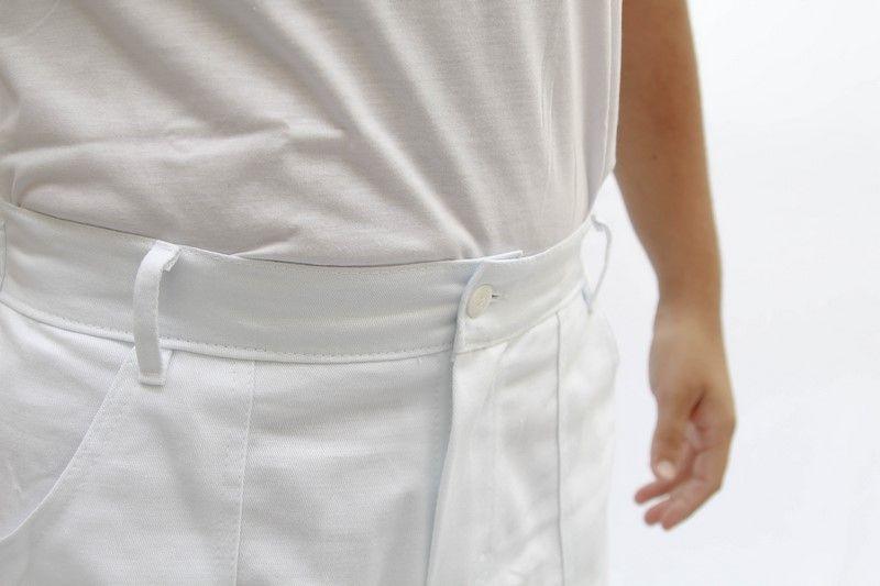 Calça de Brim Branco Cós Meio Elástico