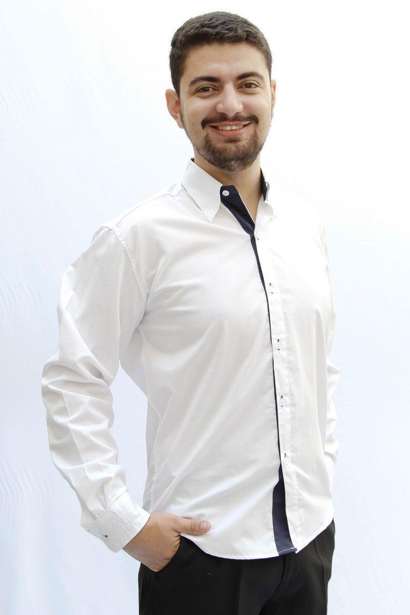 Camisa M. Longa Branca com Marinho - Uniformes Paraná ... 89d4874181841