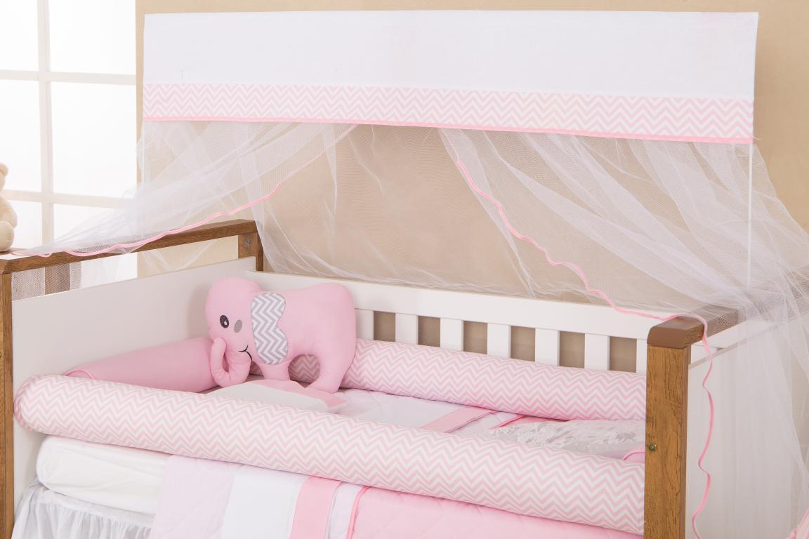 f214eeff2a9944 Kit Berço 11 Peças Coleção Rolinho Elefante Rosa - Reluz Cortinas
