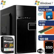 Computador com Windows 7 + Microsoft Security e SSD 120GB + 4GB Intel Dual Core Wifi