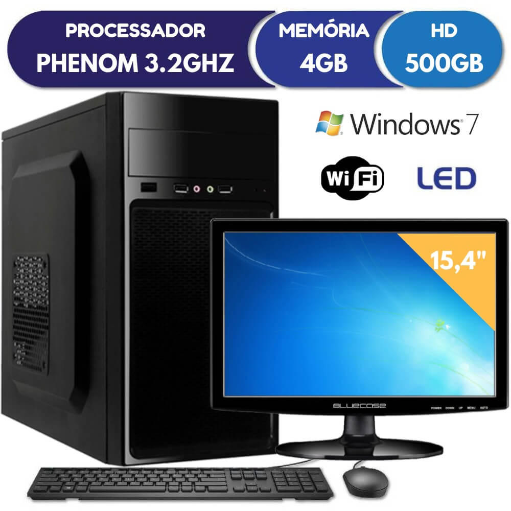 Computador Com Monitor Led Phenom 3.2ghz 4gb Hd 500gb Windows 7 Teclado E Mouse