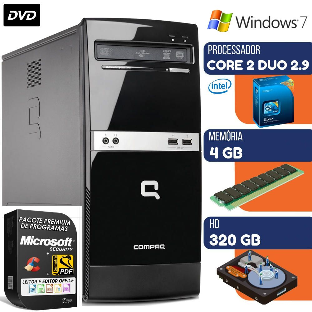 Computador Intel Compaq Core 2 Duo 2.9Ghz 4GB HD 320GB Windows 7 Dvd Wifi