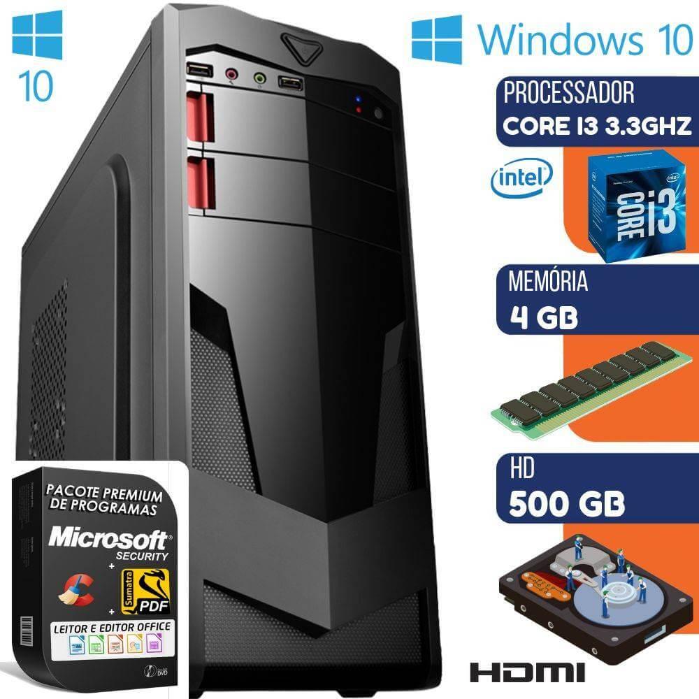 Computador Intel Core I3 Com Gravador 4gb Hd 500gb Windows 10 Pro Hdmi Wifi