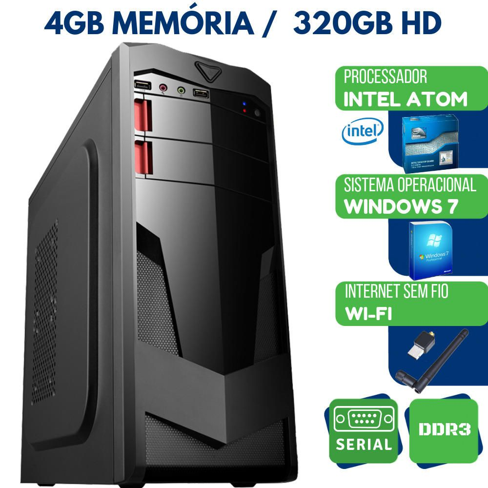 Computador Pc Desktop Intel Atom 4gb HD 320gb Windows 7 Wifi