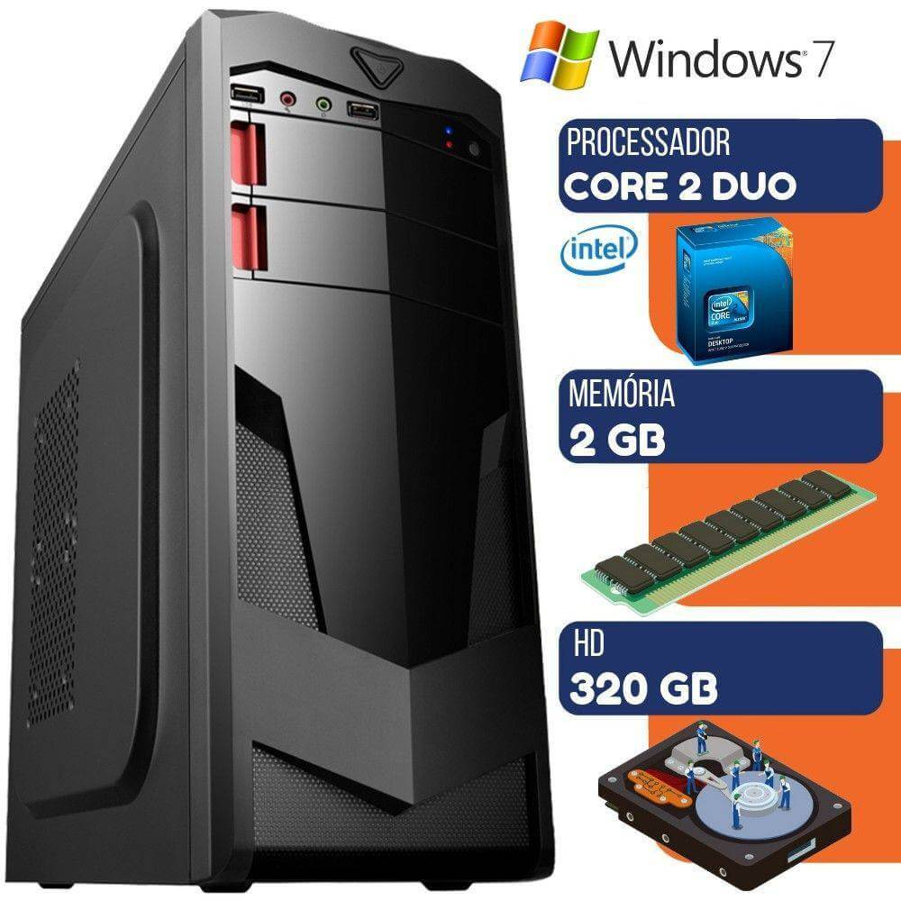Computador Pc Ultra Desktop Intel Core 2 Duo 2gb HD 320gb Windows 7
