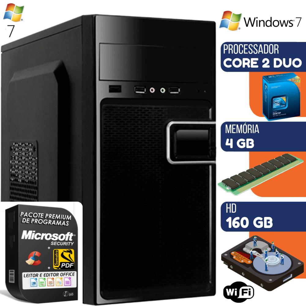 Computador Prime Intel Core 2 Duo 4GB HD 160GB Windows 7 Wifi Desktop Pc