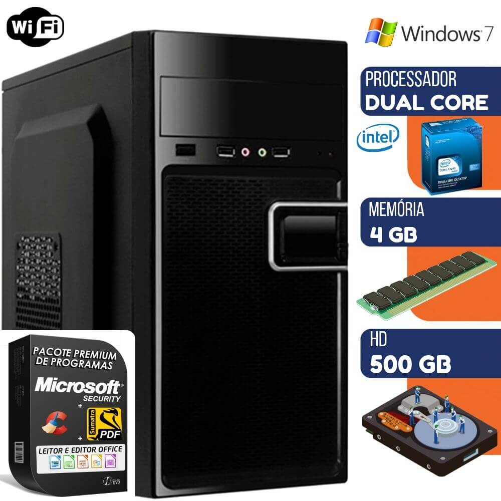 Computador Prime Intel Dual Core 4gb Hd 500gb Windows 7 Com Wi-fi