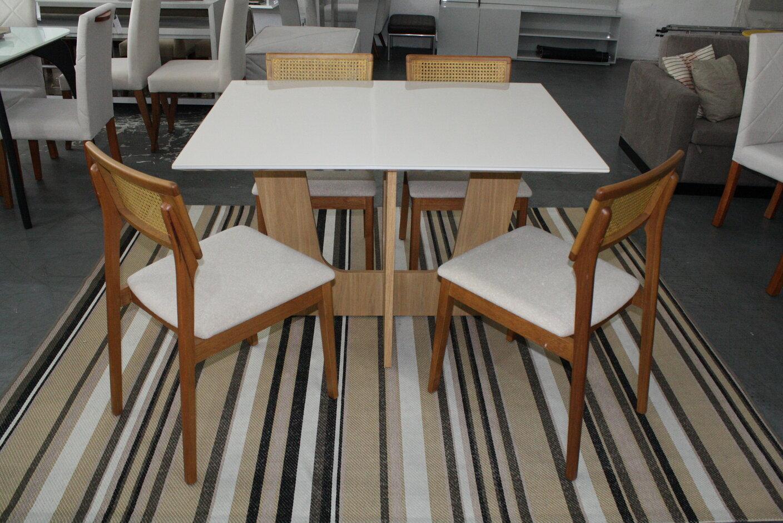Conjunto Mesa de Jantar 120x90 com 4 Cadeiras Ryva