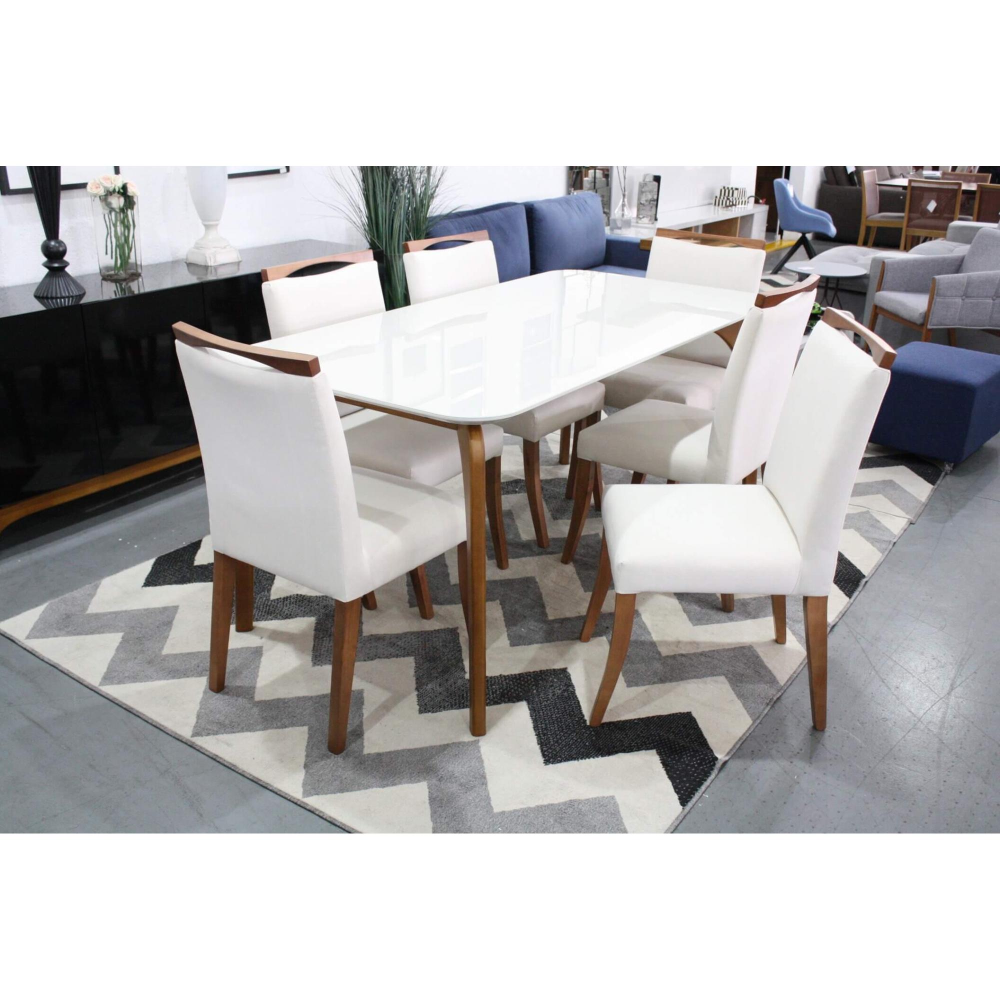 Conjunto Mesa de Jantar Euro com 6 Cadeiras Lara