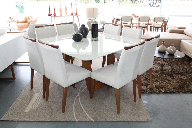 Conjunto Mesa de Jantar Quadra Oslo Off White/Mel com 8 Cadeiras Lara