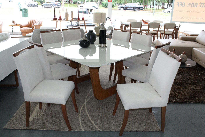 Mesa de Jantar Quadrada Oslo Com 8 Cadeiras Lara