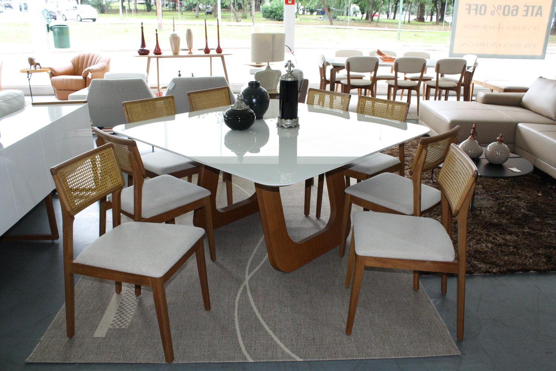 Conjunto Mesa de Jantar Quadra Oslo Off White/Mel com 8 Cadeiras Ryva