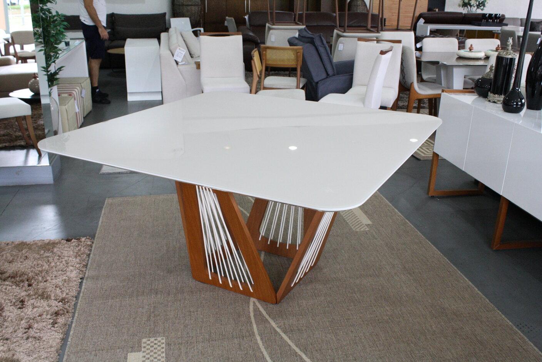 Mesa de Jantar Quadrada Califórnia Com 8 Cadeiras Lara  - Formato Móveis e Decorações