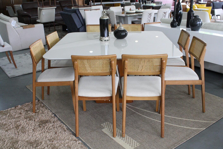 Mesa de Jantar Quadrada Califórnia Com 8 Cadeiras Ryva