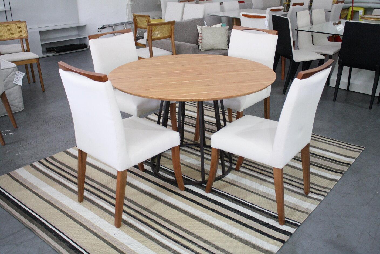 Conjunto Mesa de Jantar Redonda Lunna com 4 Cadeiras Lara