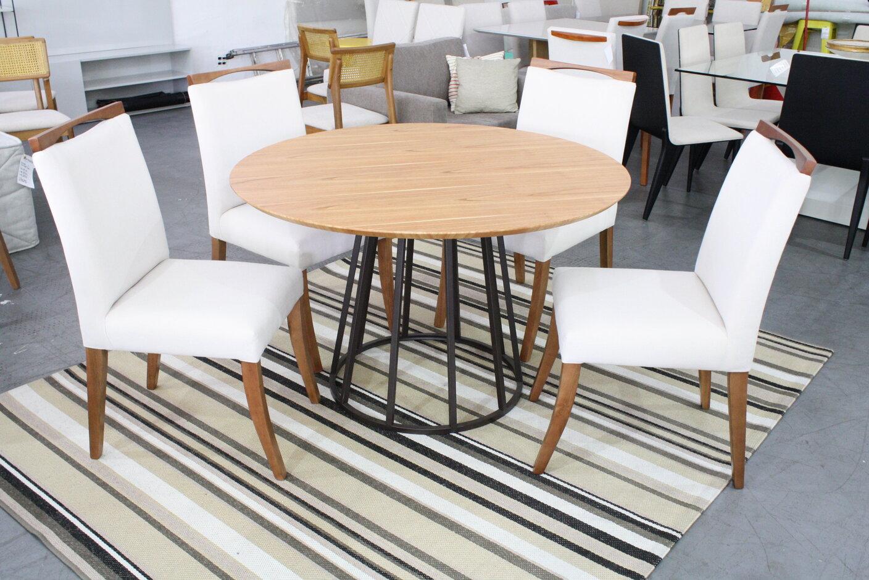 Mesa de Jantar Redonda Lunna Com 4 Cadeiras Lara