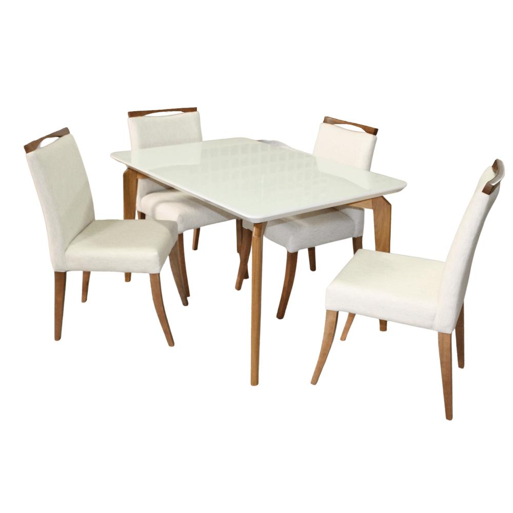 Mesa de Jantar Suécia 120 X 90cm Com 4 Cadeiras Lara