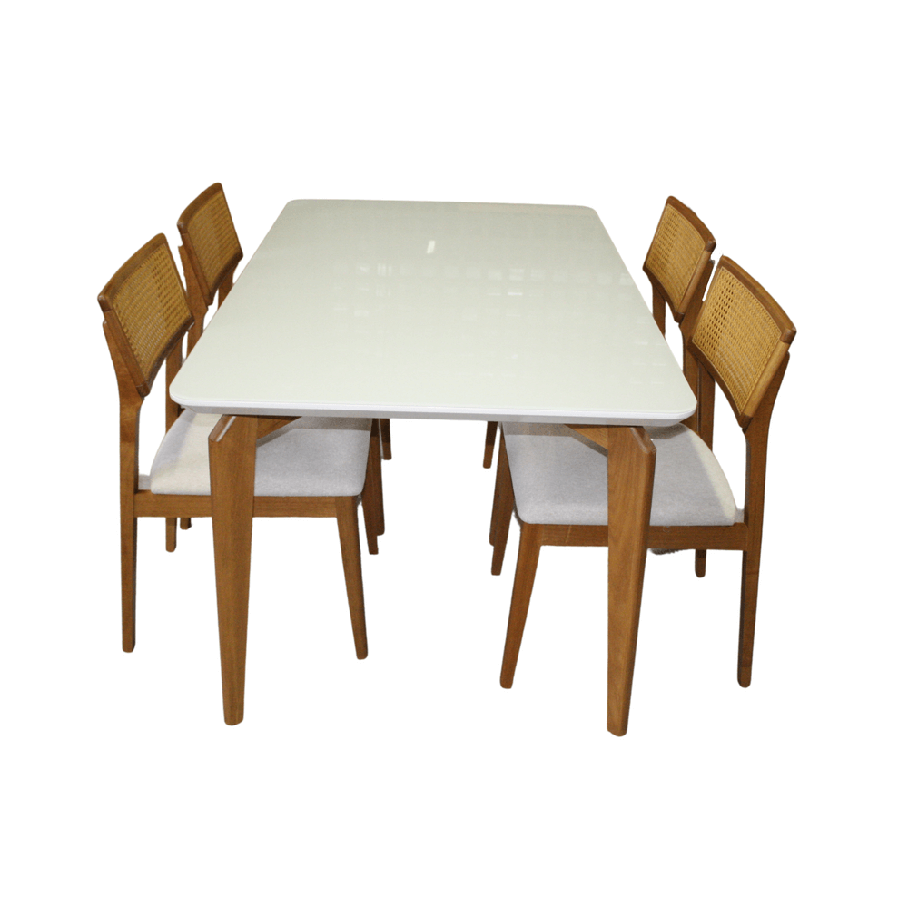 Mesa de Jantar Suécia 160 x 90cm Com 4 Cadeiras Ryva