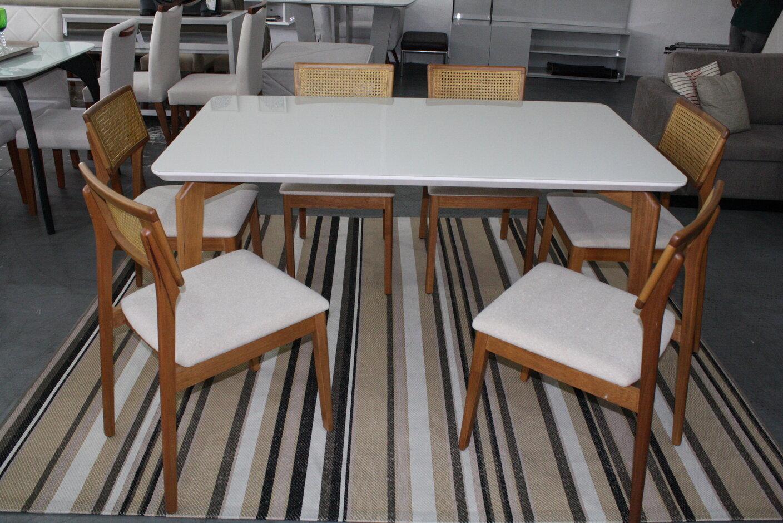 Conjunto Mesa de Jantar Slim com 6 Cadeiras Ryva