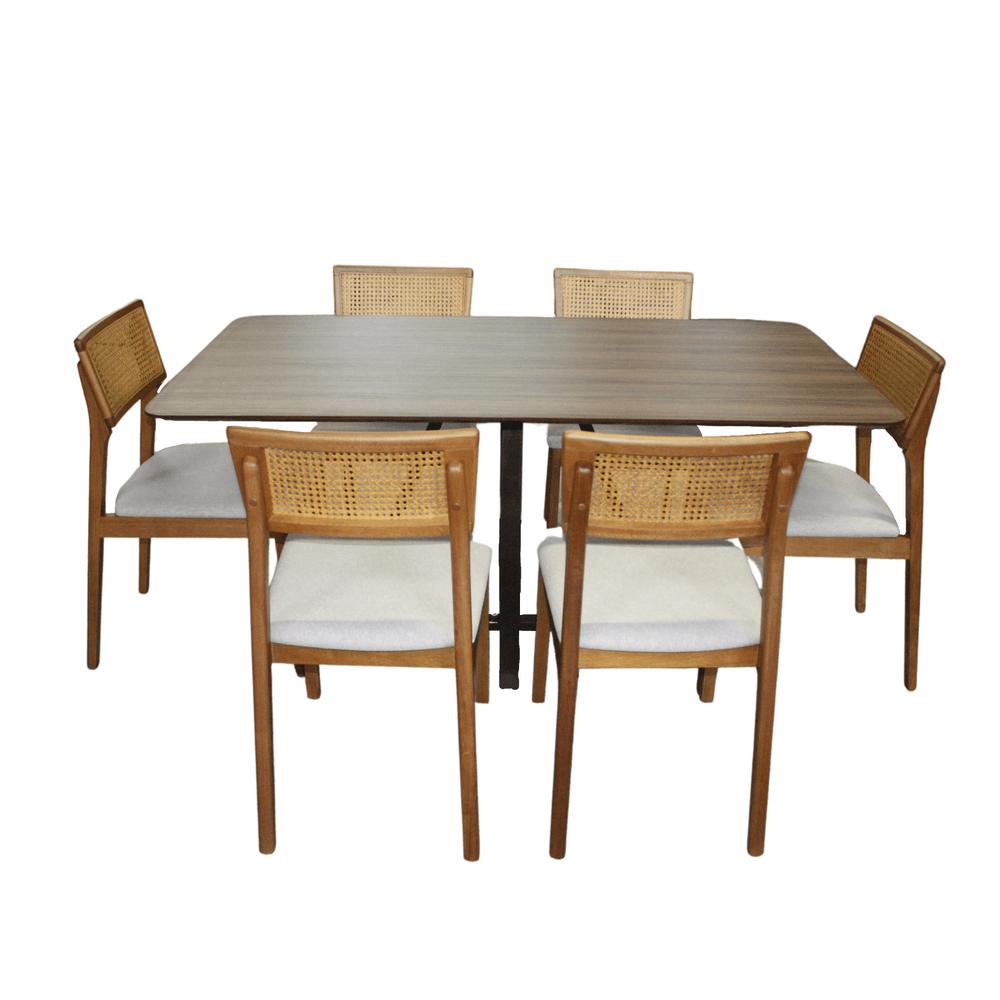 Mesa de Jantar Retangular Eunice Com 6 Cadeiras Ryva