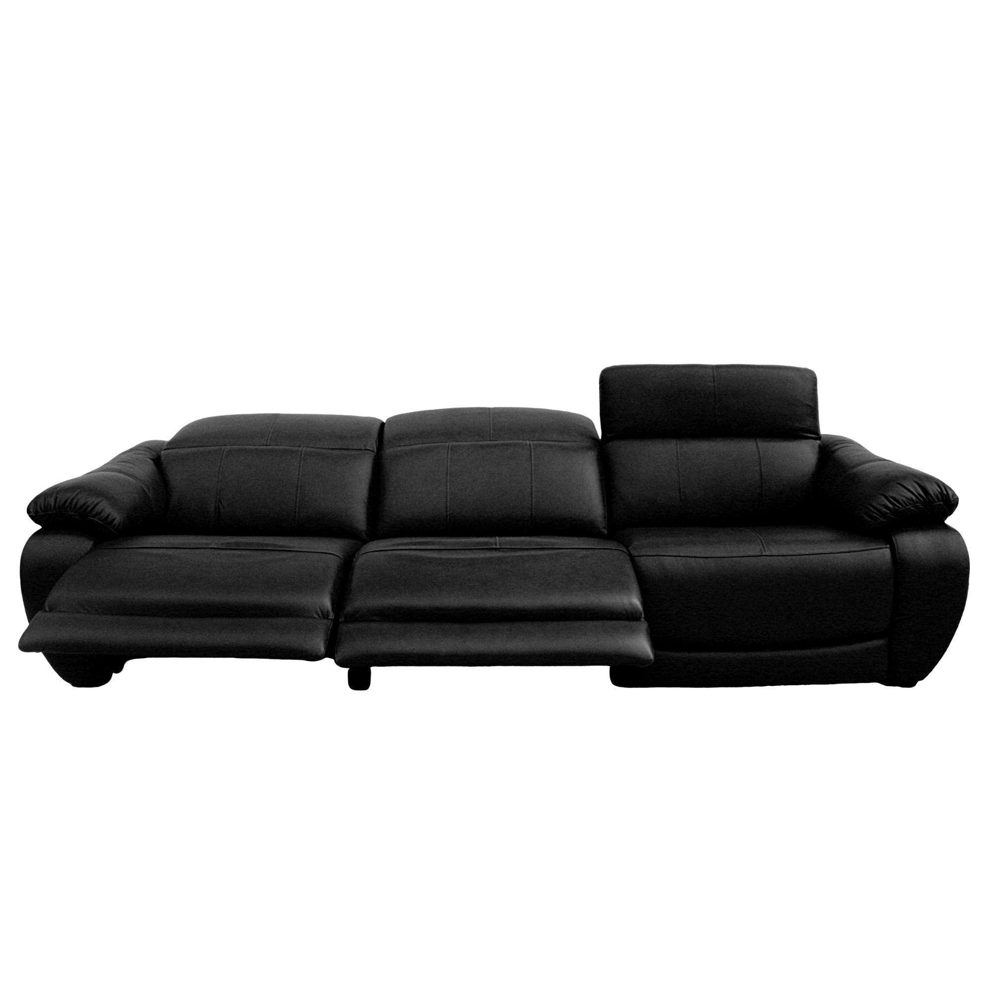 Sofá Retrátil Elétrico de Couro 3 Lugares 299cm - Royal Negro