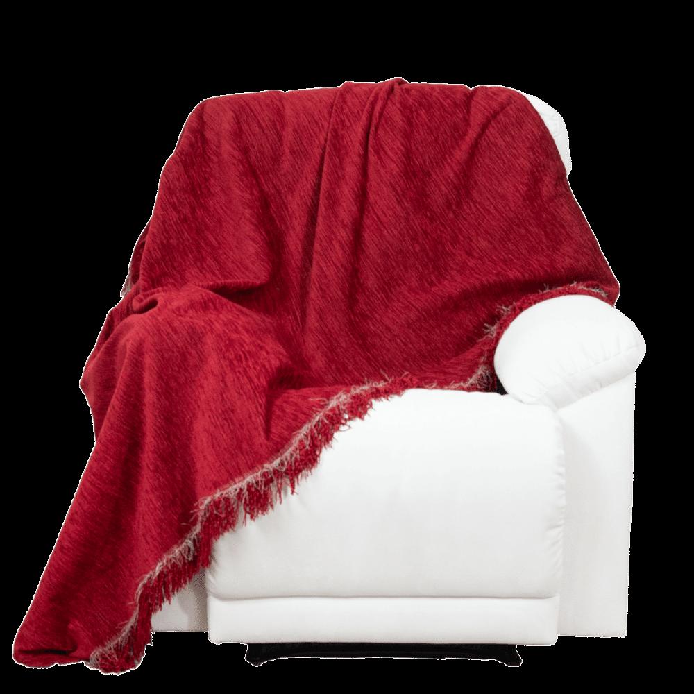 Manta Para Sofá Chenille vermelha