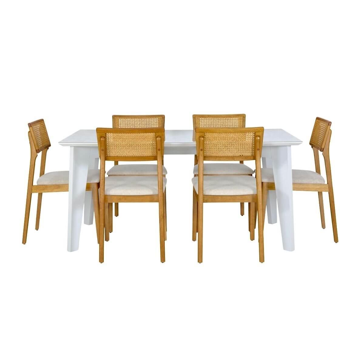 Mesa de Jantar 180cm Baeza Com 6 Cadeiras Ryva
