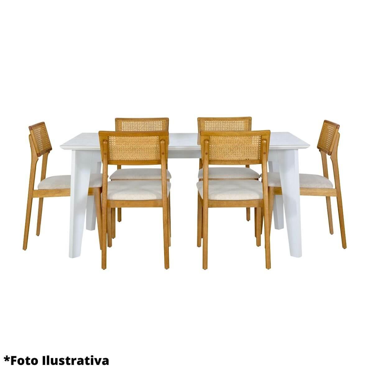 Mesa de Jantar 6 Lugares Retangular Baeza 160cm  - Formato Móveis e Decorações